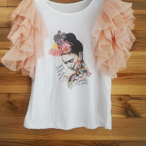Camiseta Frida mangas de tul.