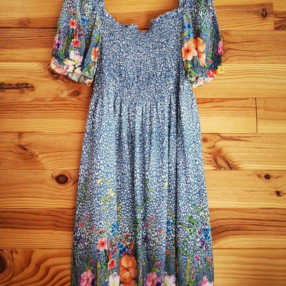 Vestido azul animal print y flores