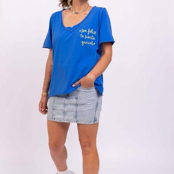 """Camiseta oversize azul """"ser feliz"""""""